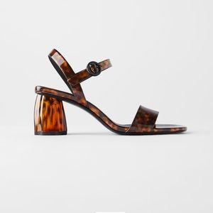 Zara Tortoiseshell Wide Heeled Sandals